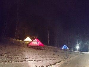 pyramids by night